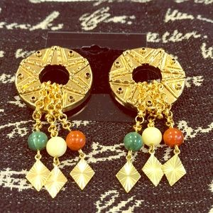 Jewelry - Great Gold Ring Dangle Earring-Bag 13